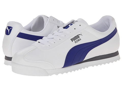 PUMA - Roma Basic (White/Clematis Blue) Men's Shoes