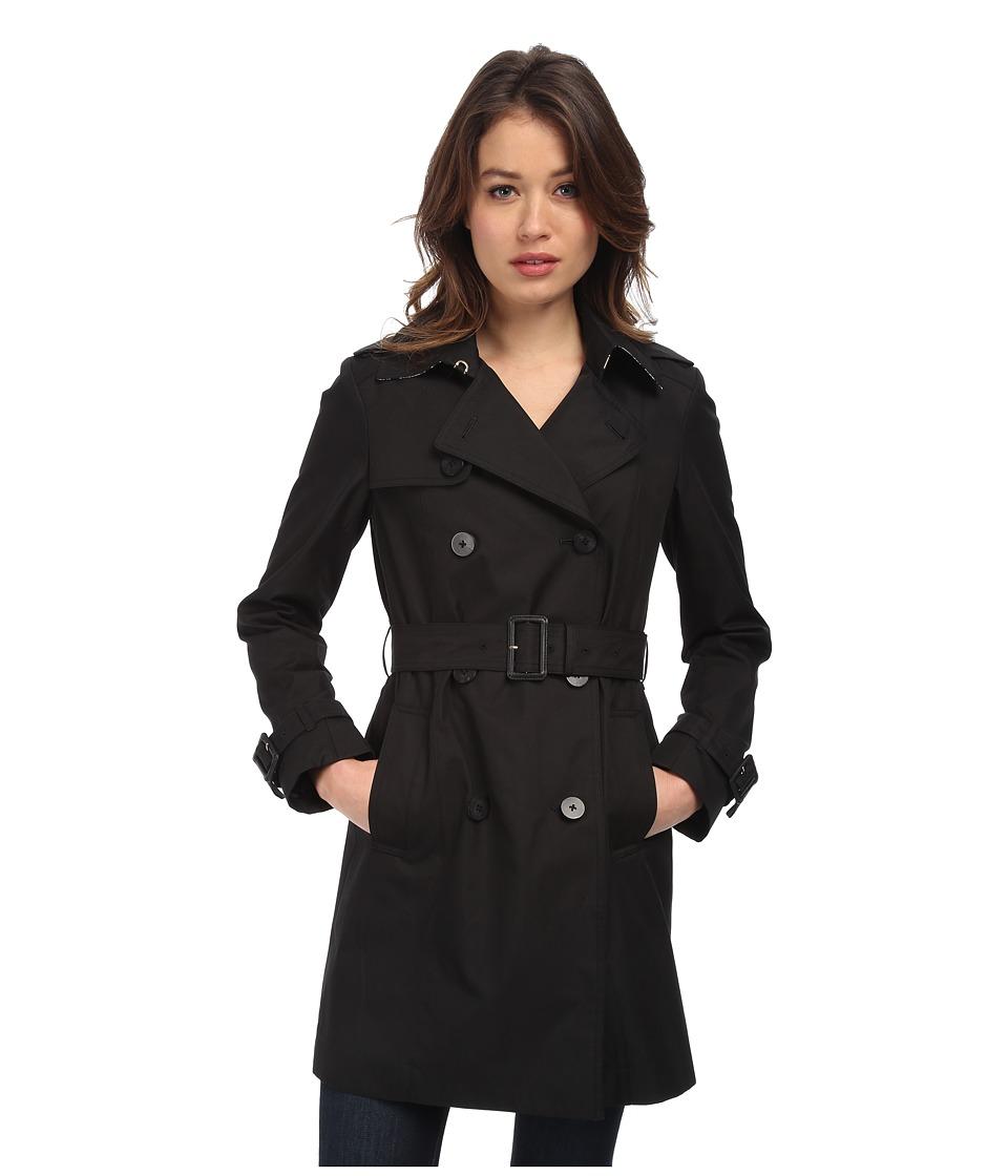Diane von Furstenberg - Sandrine Trench Coat (Black) Women's Coat plus size,  plus size fashion plus size appare