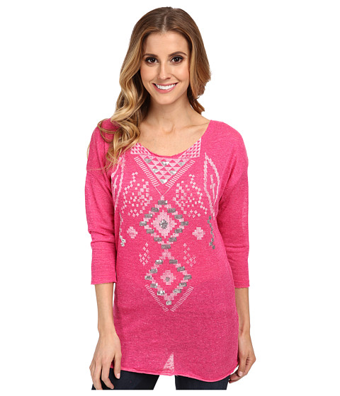 Rock and Roll Cowgirl - 3/4 Sleeve Heather Jersey Knit (Hot Pink) Women