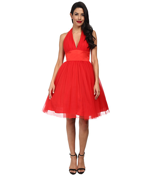 Unique Vintage - Halter Midtown Cocktail Dress (Red) Women's Dress