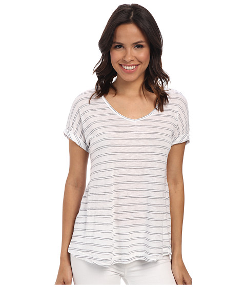 Allen Allen - Stripe Roll Sleeve Tee (White) Women's T Shirt