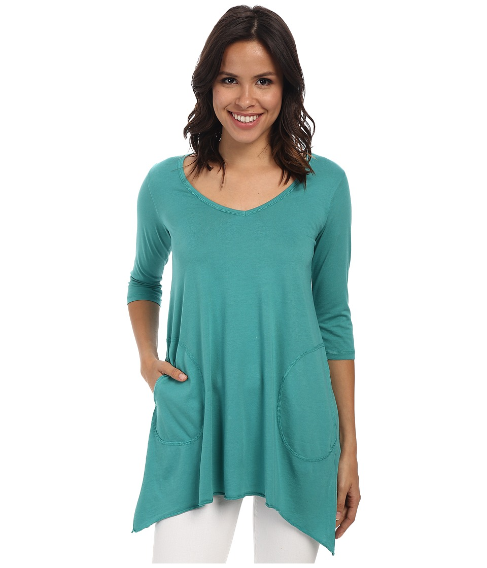 Allen Allen - 3/4 Sleeve V-Angled Tunic (Emerald) Women
