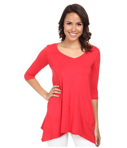 Allen Allen - 3/4 Sleeve V-Angled Tunic (Poppy) Women's Short Sleeve Pullover