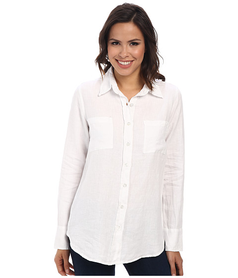 Allen Allen - Linen Shirt (White) Women's Long Sleeve Button Up