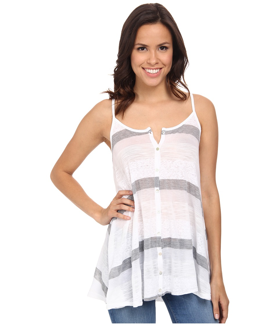 Allen Allen - Stripe Button Front Cami (White) Women's Sleeveless