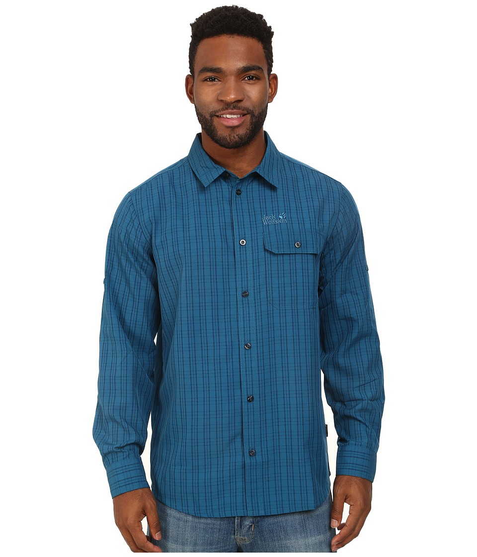 Jack Wolfskin - Tasman Shirt (Moroccan Blue Checks) Men's Clothing