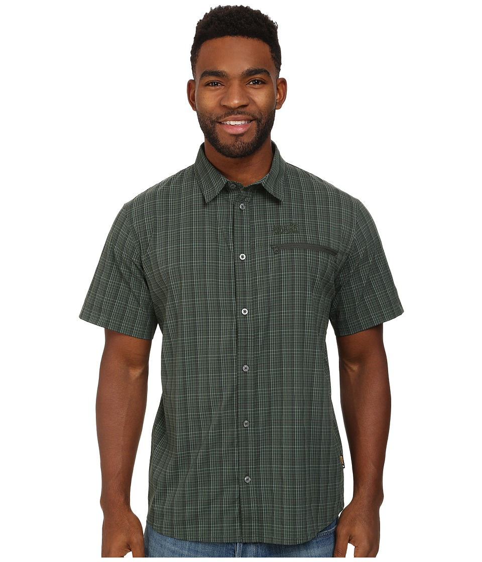 Jack Wolfskin - Rays Stretch Vent Shirt (Spruce Checks) Men's Clothing