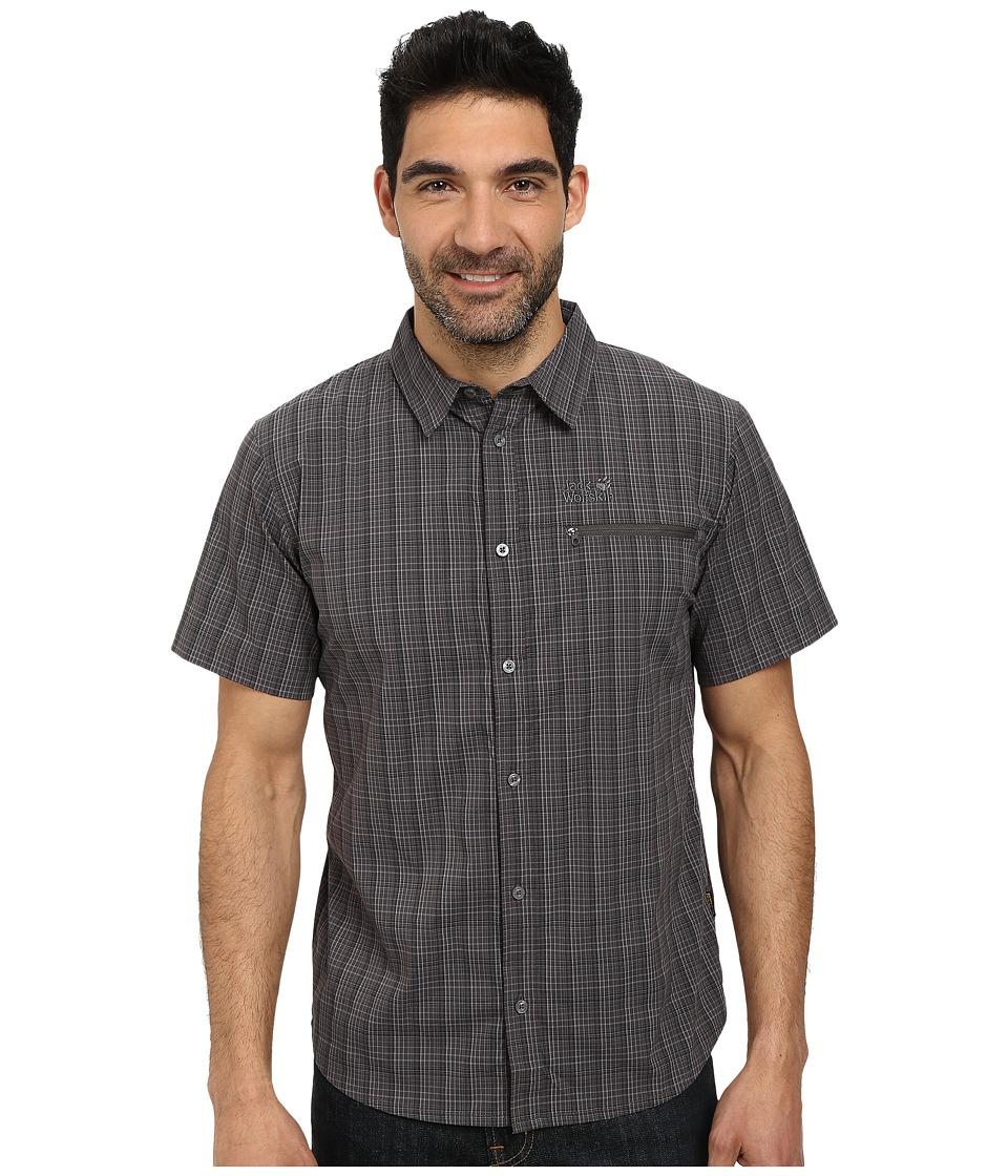 Jack Wolfskin - Rays Stretch Vent Shirt (Dark Steel Checks) Men's Clothing