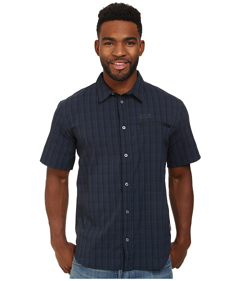 Jack Wolfskin - Rays Stretch Vent Shirt (Night Blue Checks) Men's Clothing