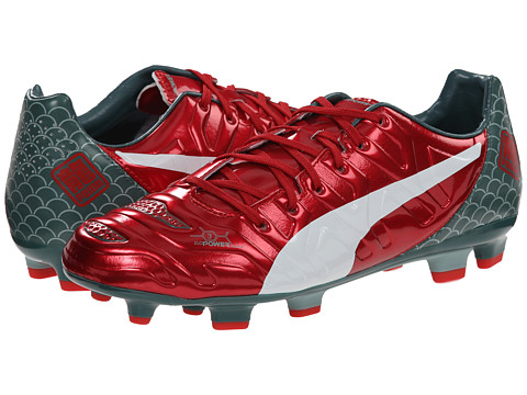 PUMA - evoPower 3.2 Graphic FG (High Risk Red/White/Sea Pine) Men's Soccer Shoes