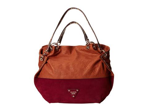 GUESS Dylan Satchel (Cognac Multi) Satchel Handbags