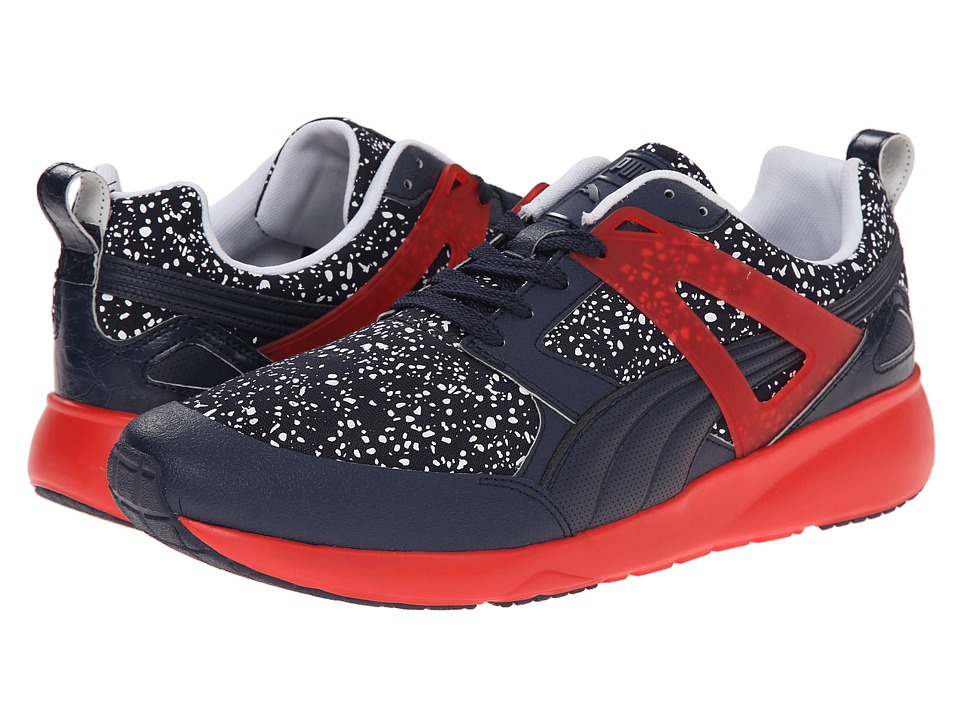 PUMA - Arial Splatter (Peacoat/High Risk Red/White) Men's Shoes