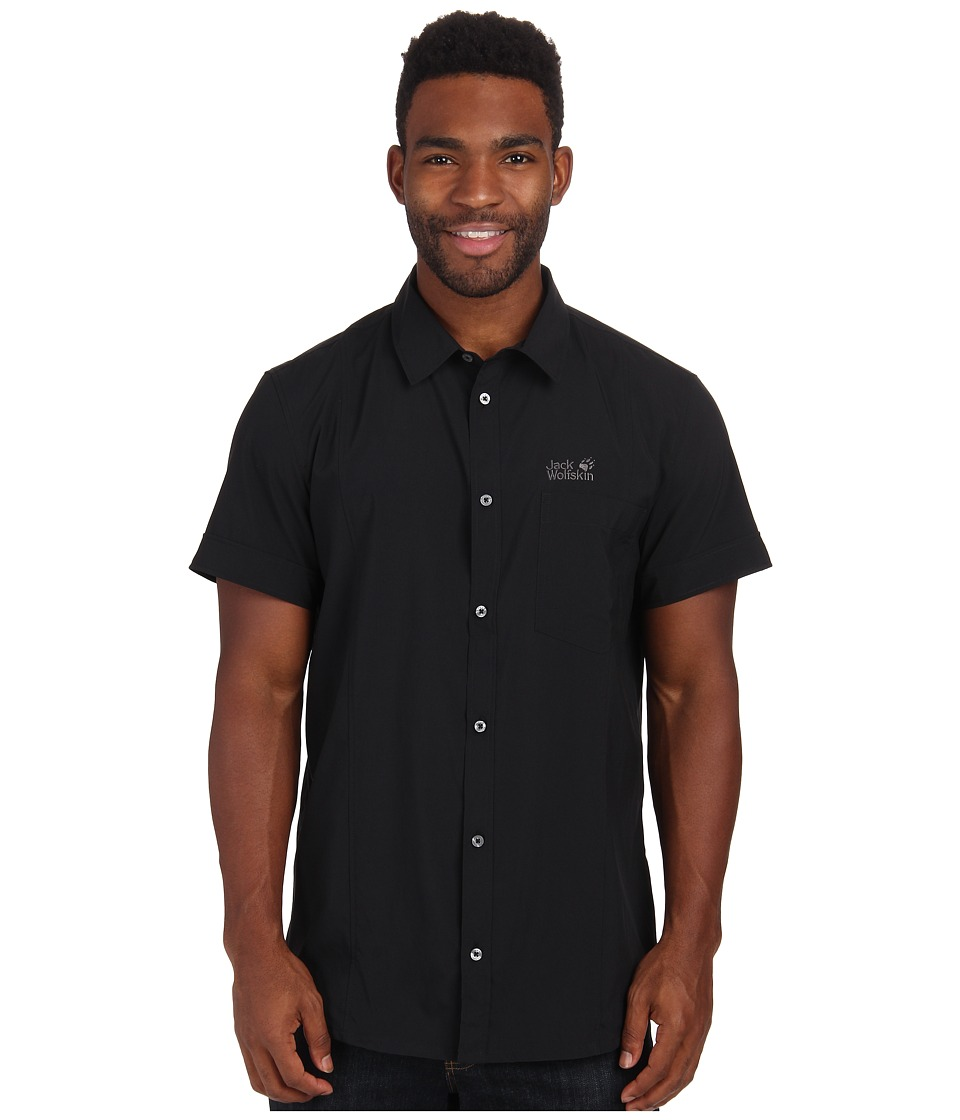 Jack Wolfskin - Egmont Shirt (Black) Men's Short Sleeve Button Up