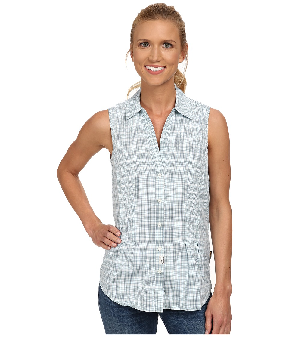 Jack Wolfskin - Tongari Shirt (Aquatic Blue Checks) Women's Clothing