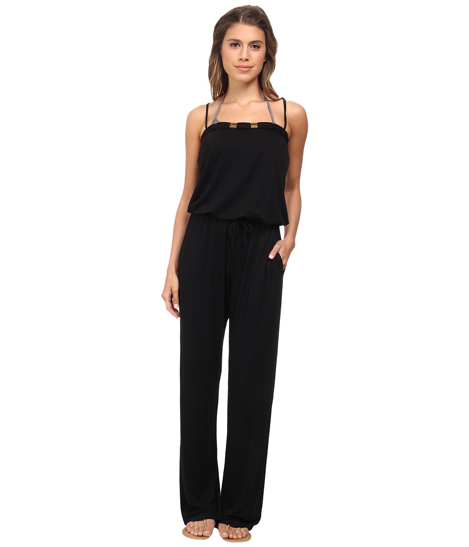 Bleu Rod Beattie - Totally Tubular Solids Jumpsuit w/ Shelf Bra Cups Cover-Up (Black) Women
