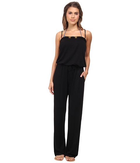 Bleu Rod Beattie - Totally Tubular Solids Jumpsuit w/ Shelf Bra Cups Cover-Up (Black) Women's Jumpsuit & Rompers One Piece