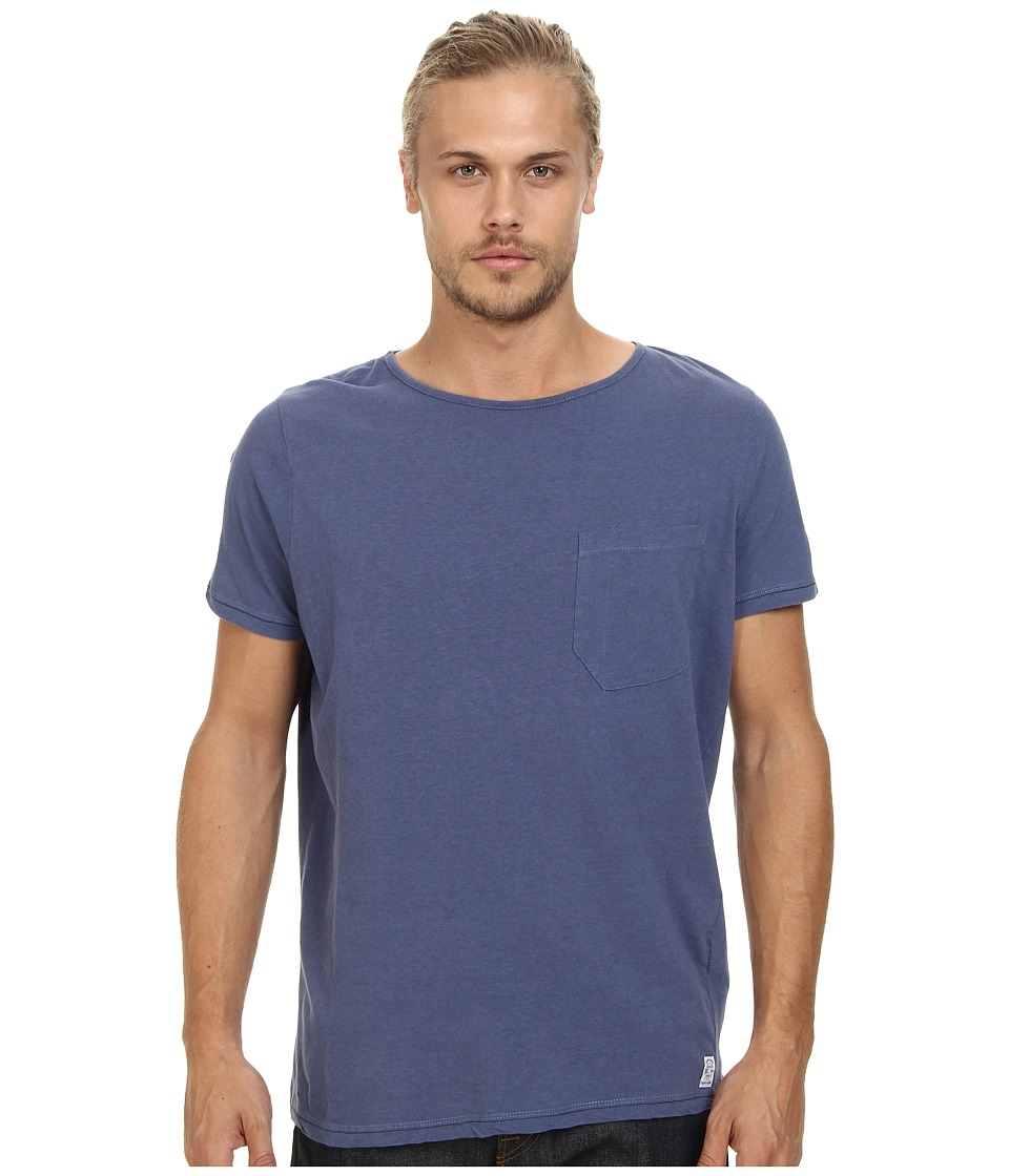 French Connection - Livingstone Plain Crew (Laundered Blue) Men's Short Sleeve Pullover
