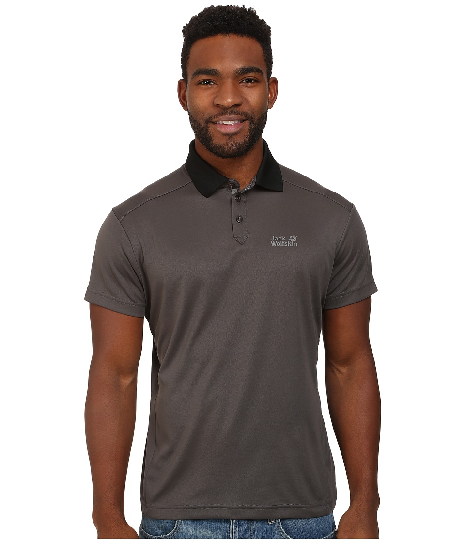 Jack Wolfskin - Coolmax Pique Polo (Dark Steel) Men