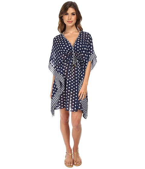 Bleu Rod Beattie - Hits The Spot Caftan Cover-Up (Dot Chevron Marine) Women