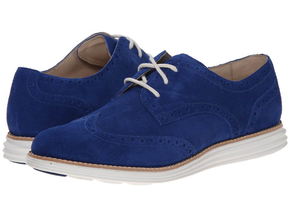 Cole Haan - LunarGrand Wing Tip (Bristol Blue Suede/Optic White) Women's Lace Up Wing Tip Shoes