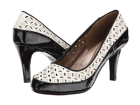 Soft Style - Cristina (White Cut-Out Vitello/Black Patent) High Heels