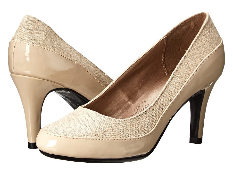 Soft Style - Cristina (Natural Linen Gold Metallic/Nude Patent) High Heels