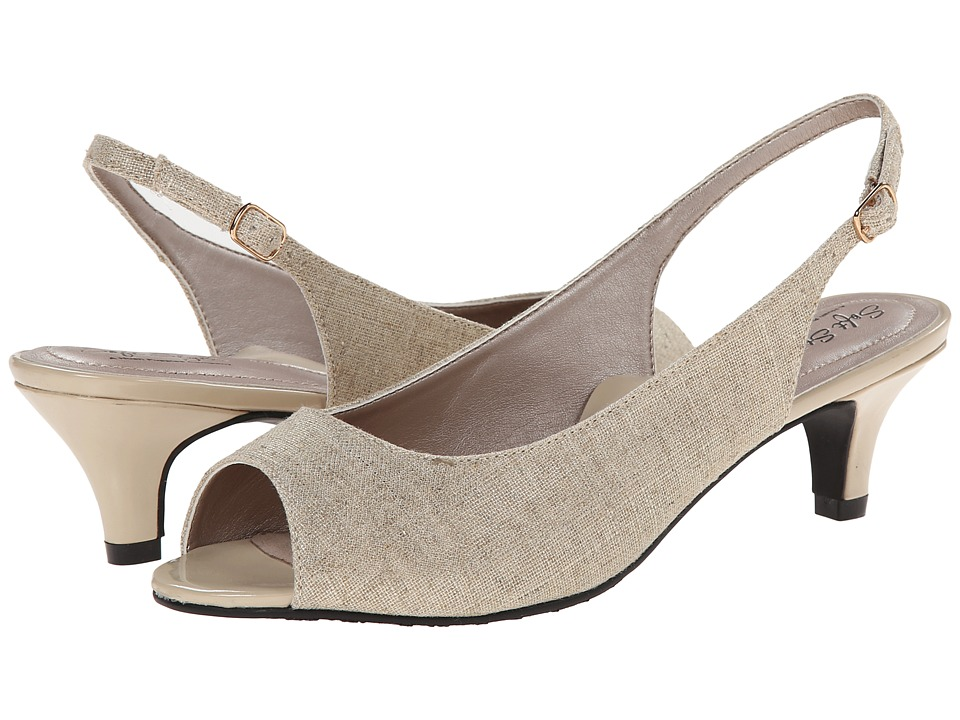 Soft Style - Analee (Natural Linen/Gold Metallic) Women's 1-2 inch heel Shoes