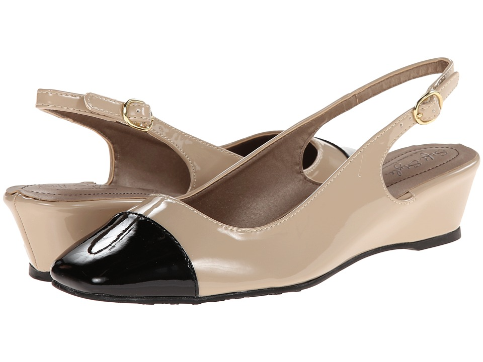 Soft Style - Shirly (New Taupe/Black Patent) Women's Wedge Shoes