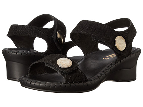 La Plume - Abigail (Black Woven) Women's Sandals