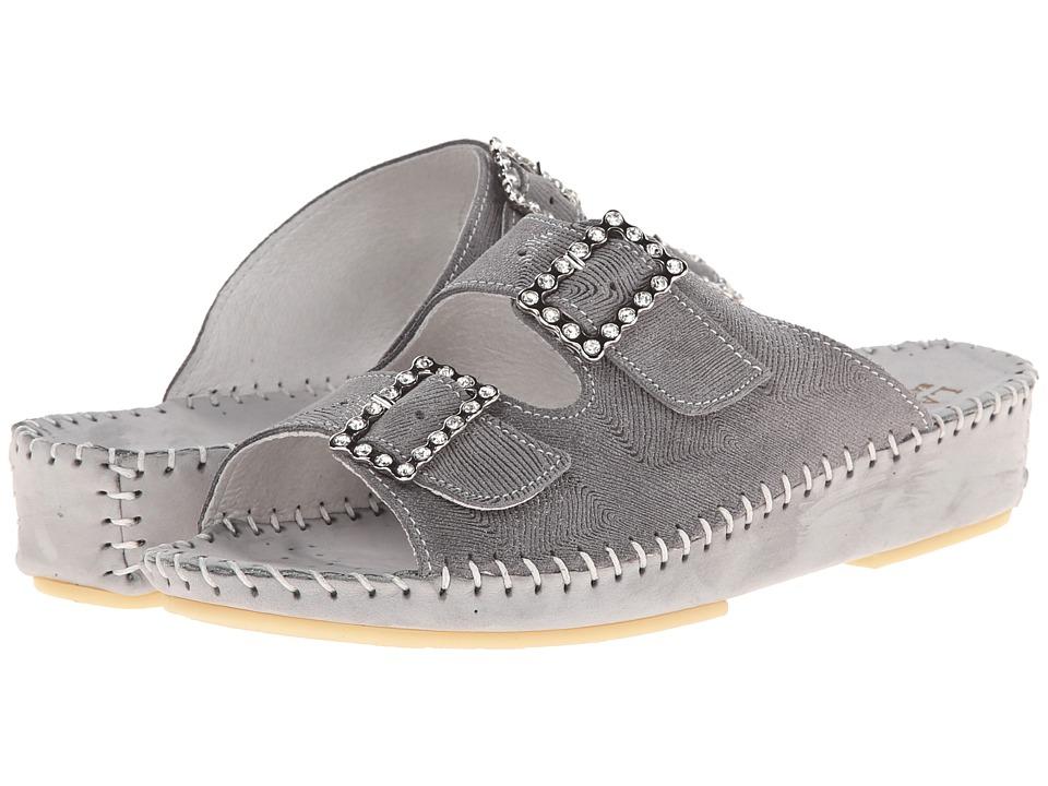 La Plume - Jen (Grey Print Rhinestone) Women's Sandals