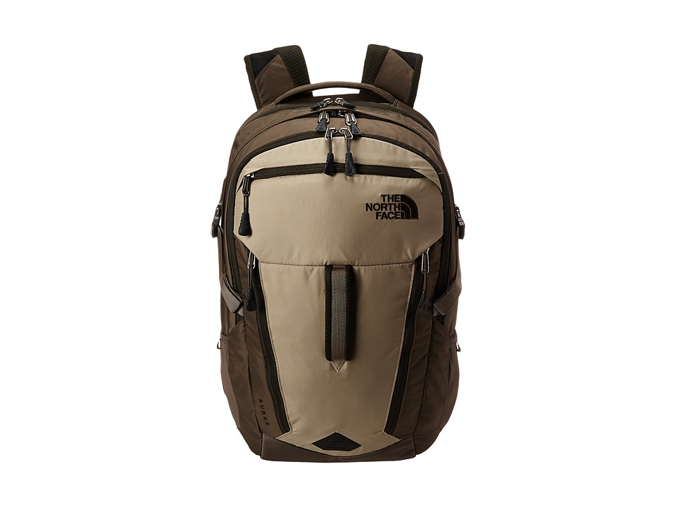 The North Face - Surge (Dune Beige/Forest Night Green) Backpack Bags