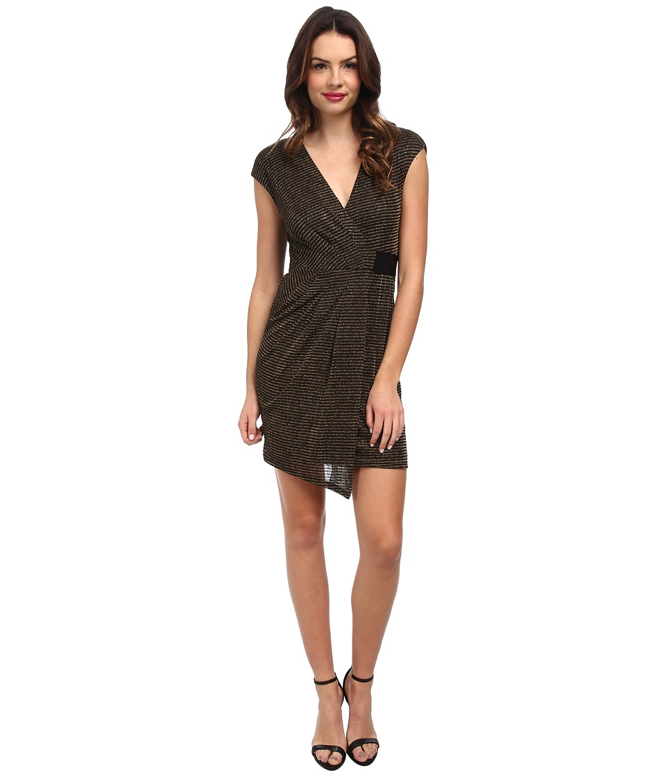 ABS Allen Schwartz - Metallic Knit Faux Wrap Drape Front Dress (Black Gold) Women