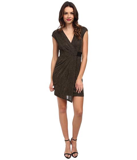ABS Allen Schwartz - Metallic Knit Faux Wrap Drape Front Dress (Black Gold) Women