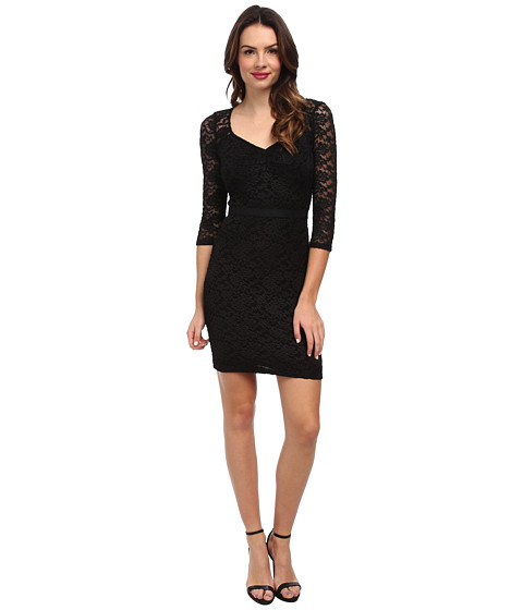 ABS Allen Schwartz - Stretch Lace L/S Dress w/ Sweetheart Neck (Black) Women