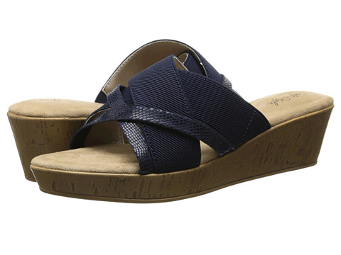 Soft Style - Jessie (Navy Elastic/Lizard Fabric) Women's Wedge Shoes