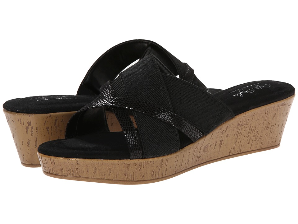 Soft Style - Jessie (Black Elastic/Black Lizard) Women's Wedge Shoes