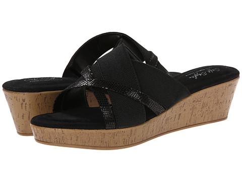 Soft Style - Jessie (Black Elastic/Black Lizard) Women's Wedge Shoes