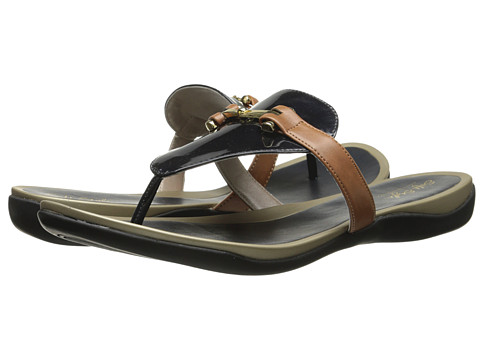 Soft Style - Rosita (Navy Soft Pearlized Patent/Tan Vitello) Women's Sandals