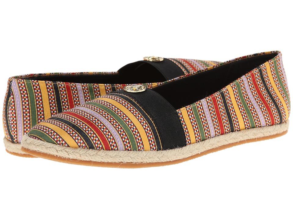 Soft Style - Hillary II (Bright Multi Railroad Stripe) Women's Flat Shoes