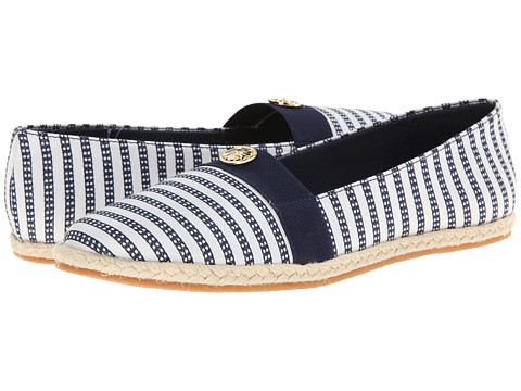 Soft Style - Hillary II (Navy Railroad Stripe) Women's Flat Shoes