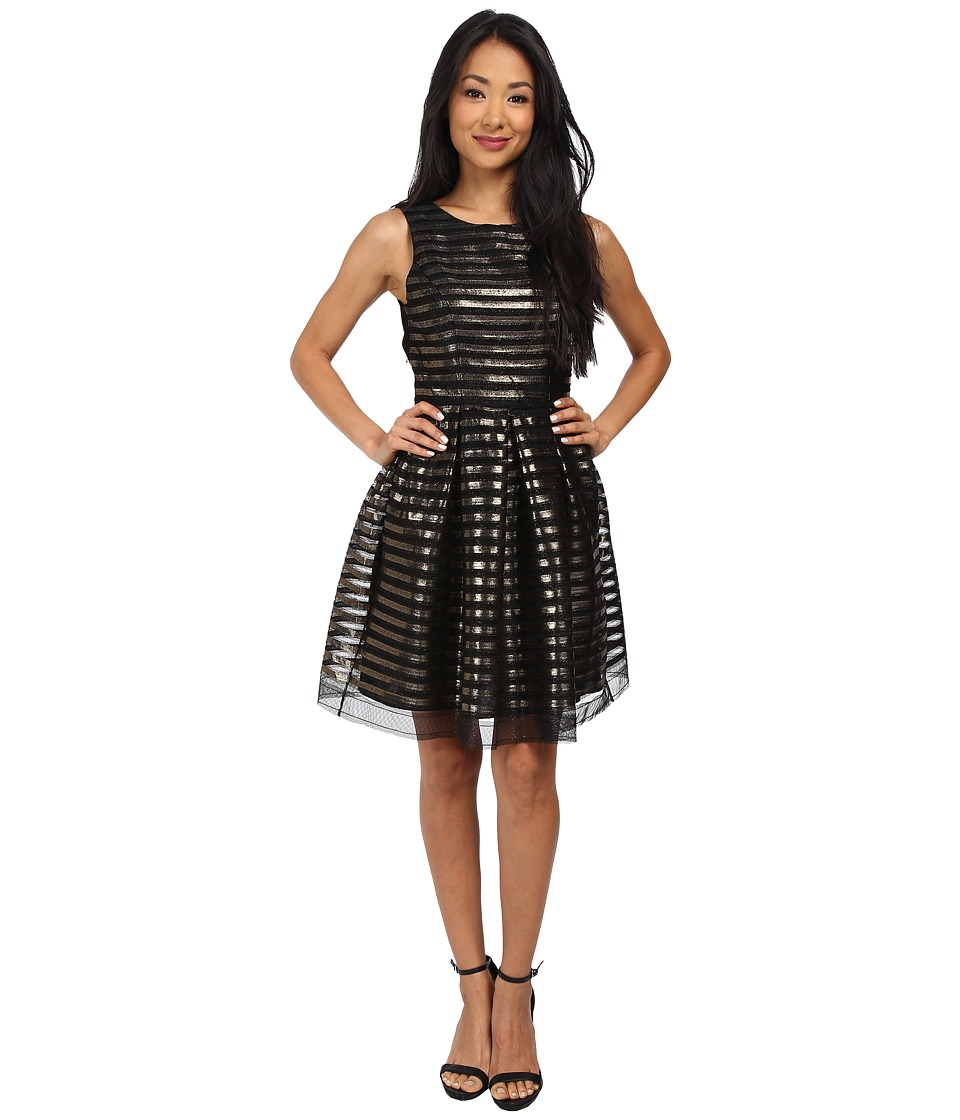 ABS Allen Schwartz Stripe Metallic Sleeveless Cocktail Dress w/ Back Detail (Black/Gold) Women