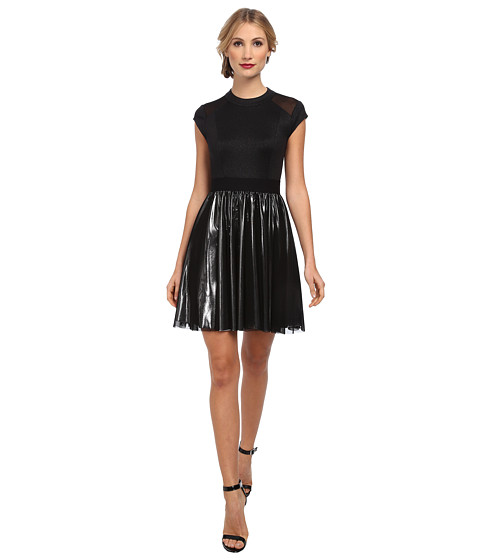 ABS Allen Schwartz - Power Mesh Cocktail Dress w/ Fitted Bodice (Black) Women