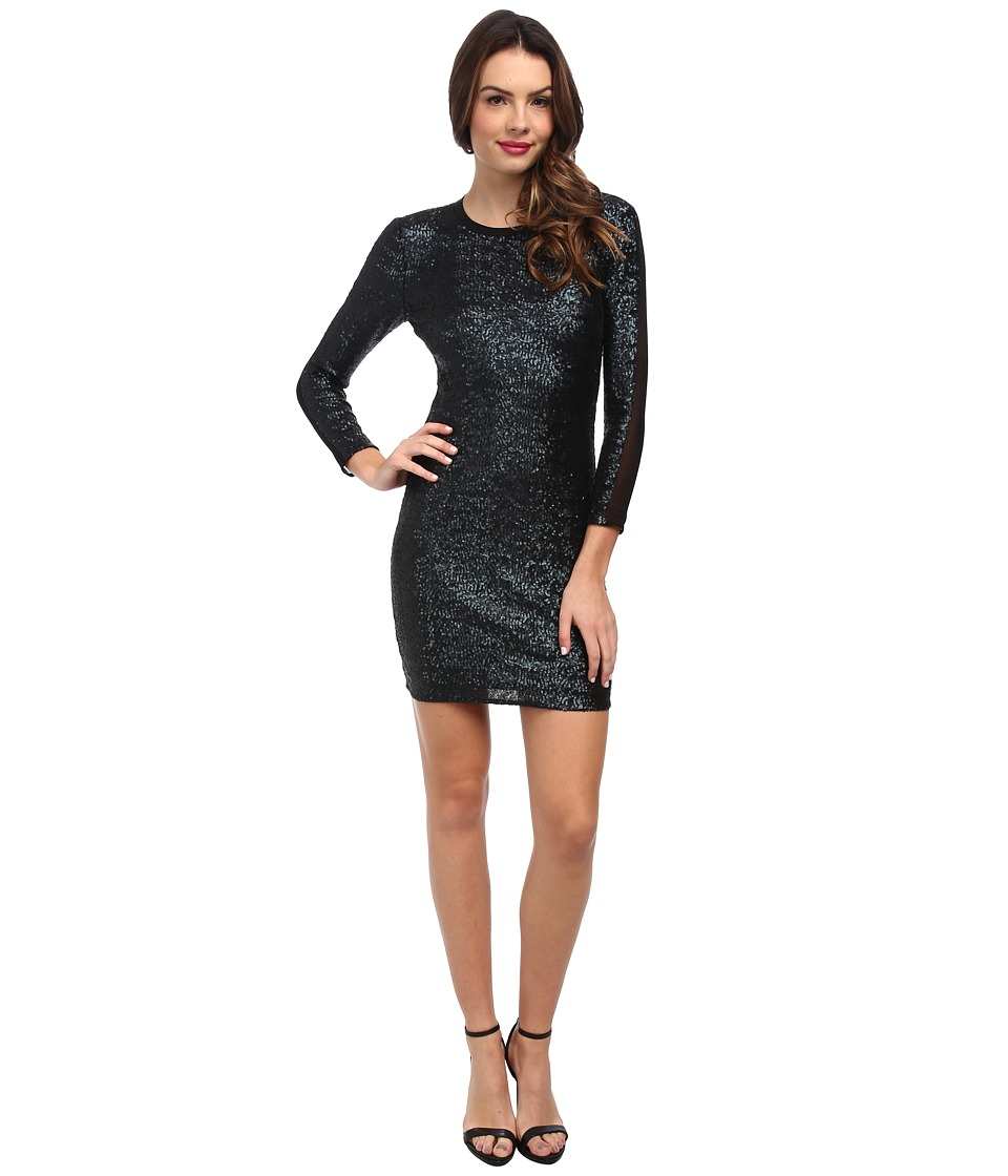 ABS Allen Schwartz - Matte Sequin Bodycon Dress w/ Mesh (Navy) Women's Dress