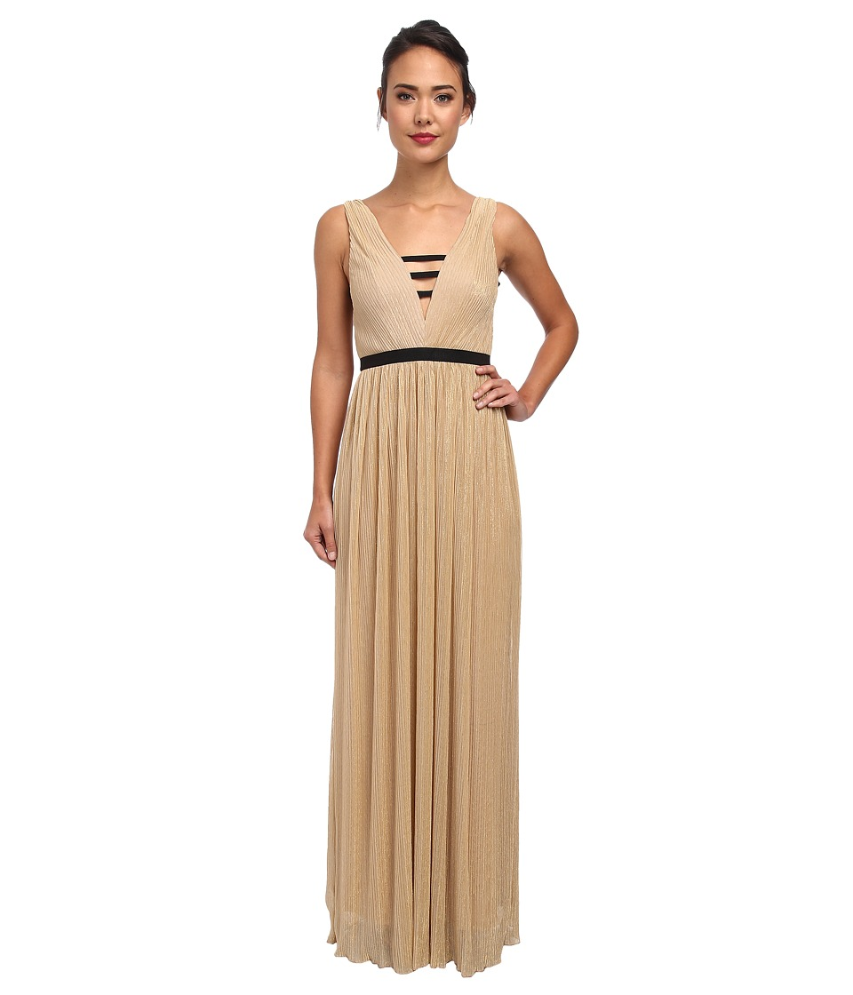 ABS Allen Schwartz - Metallic Mesh V-Neck Goddess Gown (Gold) Women's Dress