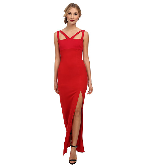 ABS Allen Schwartz - Knit Crepe Gown w/ Geometric Panels (Red) Women