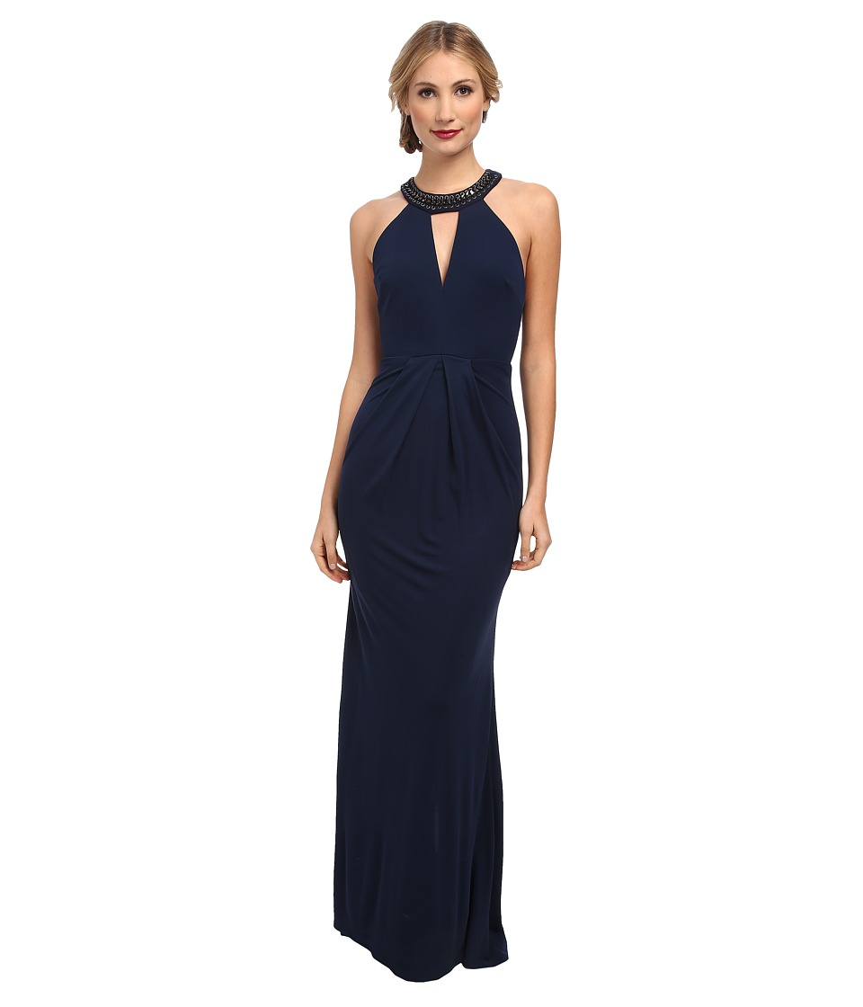 ABS Allen Schwartz - Matte Jersey Deep V-Halter Gown w/ Chain Detail (Dark Peacock) Women's Dress
