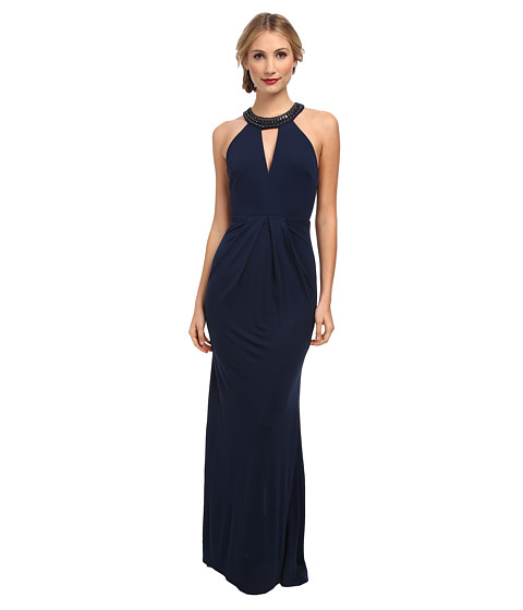 ABS Allen Schwartz - Matte Jersey Deep V-Halter Gown w/ Chain Detail (Dark Peacock) Women's Dress