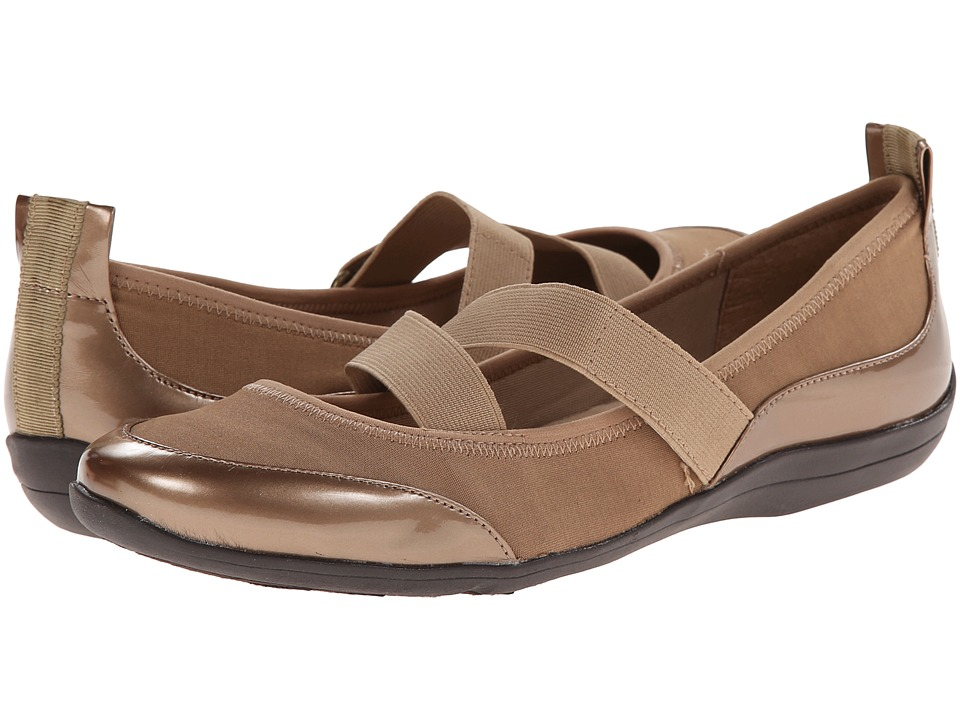 Soft Style Haden (Taupe Fabric/Tan Pearlized Patent) Women