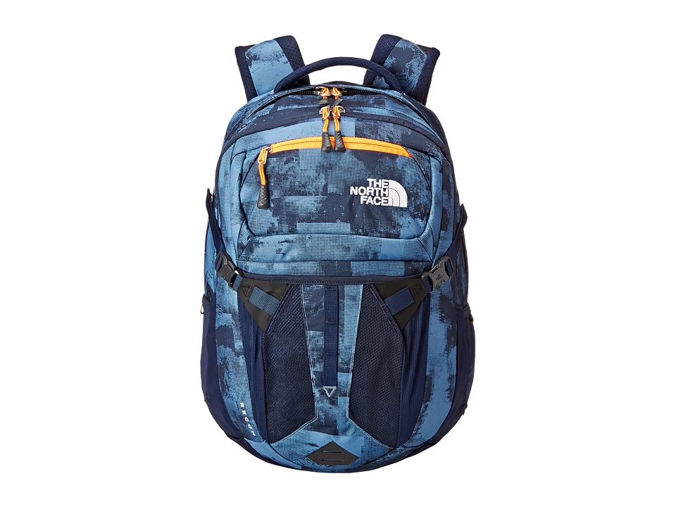 The North Face - Recon (Cool Blue Texture Block Print/Shocking Orange) Backpack Bags
