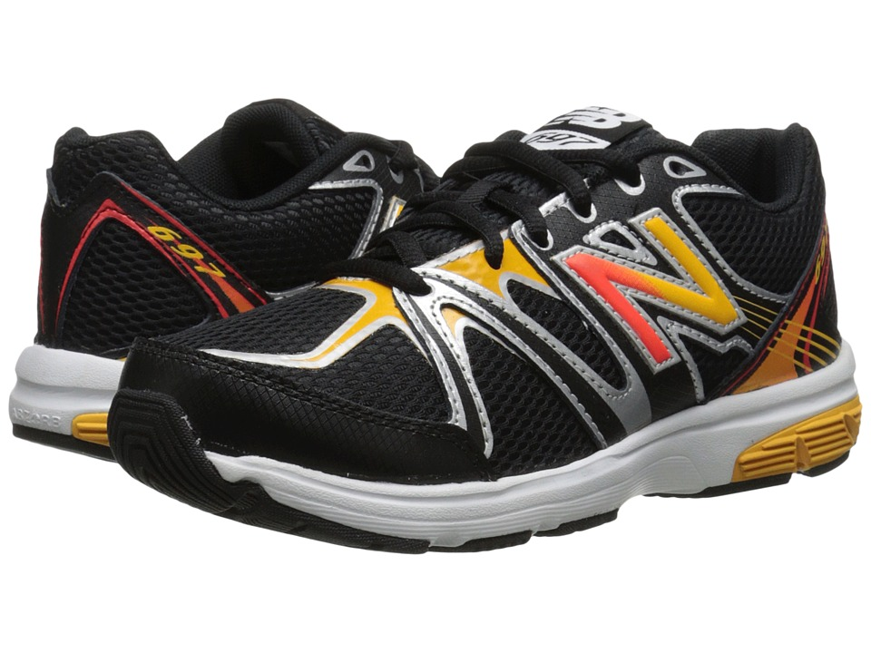 New Balance Kids 697 (Little Kid/Big Kid) (Black/Orange) Boys Shoes